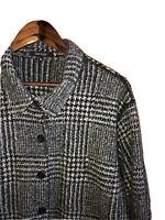 KAREN KANE Sz XL Women's Black Gray Houndstooth Sweater Jacket Pockets Shacket