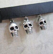 PILGRIM Belt Silver & Black Leather Swarovski SKULLS & DIAMONDS BNWT Rock Goth