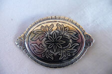 Vintage 925 Sterling Silver Floral Iridescent Embossed Oval Mourning Brooch