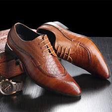 Men's Leather Oxfords Lace-up Brogues Snake Pattern Wingtip Formal Dress Shoes