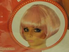 Pink short Bob Wig Fancy Dress Cosplay Hen Party Sci Fi Anime 1960s Psychedelic