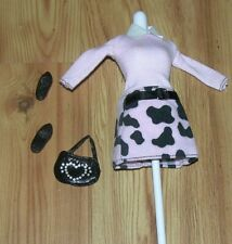 Barbie DOLL Dalmation SPOT SCENE Pink Black Outfit Dress With Shoes & Bag