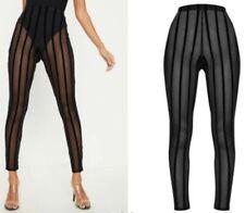Pretty Little Thing black stripe mesh leggings/trousers, festival wear, size 8