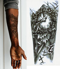 Temporary Tattoo Black Gothic Clock Fake Body Art Sticker Waterproof Mens Ladies