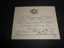 1887 NEW ORLEANS THE COMMERCIAL CLUB PERMISSION FOR TWENTY DAYS