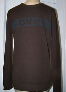 DONNA KARAN DKNY -sz XXL HANDSOME SWEATER BROWN WITH DKNY LOGO ON CHEST - NWT
