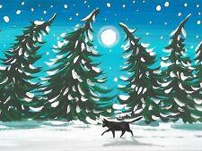 1.5x2 DOLLHOUSE MINIATURE PRINT OF PAINTING RYTA 1:12 SCALE XMAS BLACK CAT ART