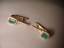 Beautiful 14K Pink Rose Gold Diamond Emerald Huggie Earrings