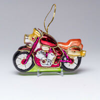"""Pink Motorcycle Gold Glitter Blown Glass Christmas Ornament Decoration 5"""" x 3"""""""
