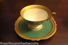 ILMENAU - HENNEBERG PORCELAIN Germany- c1930s cup and saucer, green and gold[65]