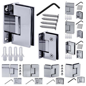 1 Stainless Steel Glass Door Hinge Bathroom Shower Glass-To-Glass Mounted Wall
