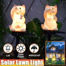 2X Solar Power LED Cat Lawn Light Outdoor Garden Yard Landscape Lamp Waterproof