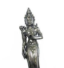 Parvati diosa Hindú antigua escultura bronce plateado Hindú goddess 20 cm
