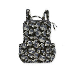 Laurel Burch Black White Polka Dot Wild Cats Quilted Cotton BackPack Book Bag