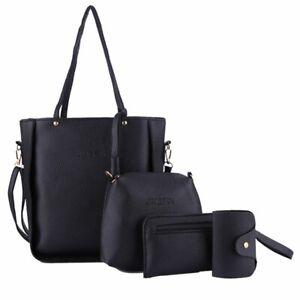 4PCS Women PU Leather Handbag Shoulder Bag Purse Messenger Satchel Clutch Black