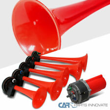 Five Trumpet La Cucaracha Great Music Air Horn Red 125db 12V w/Compressor Kit