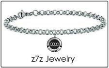 "AUDI Choker Necklace - silver steel car logo emblem 16"" chain jewelry z7qq"