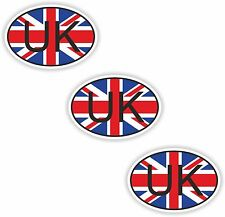 """United Kingdom Small Country Code 3x Oval Flag Stickers (0.8""""x1.2"""")Bumper Helmet"""