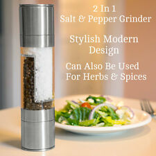 2 in 1 Stainless Steel Salt And Pepper Grinder Large Combi Mill Set High Quality