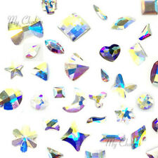 10 Assorted Mixed Shapes Swarovski Crystal Flatback nail art CRYSTAL AB (001 AB)