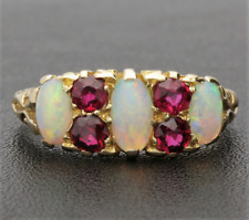 EDWARDIAN OPAL & RUBY GALLERY RING. 18CT GOLD