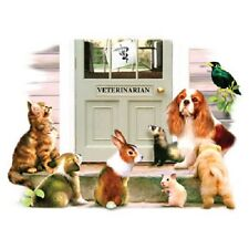 """Veterinary: """"VISIT to the Vet"""".Pic 8x10 on16"""" Fabric Panel-Sew(See Cavalier Dog)"""