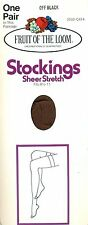 Off Black (Brown) Nylon Stockings by Fruit of the Loom, One Size, USA Vintage