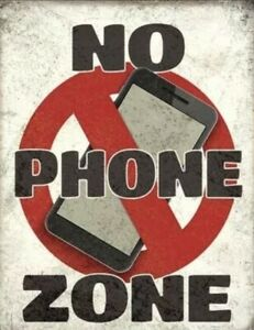 No Phone Zone Metal Tin Sign Picture Poster Cell Home Office Classroom Work Gift