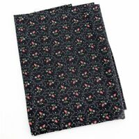 Vintage Rosebud Floral Print Fabric Cotton Novelty Rose Black Calico 1 yd x 44""