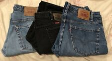 3 Pair of Jeans Wrangler Levis Denim Black 38 x 34 Used 505 Red Tag Straight Leg