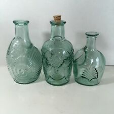 Decorative Teal Blue Green Glass Bottle  Lot Of 3 Made In Canada