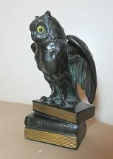 antique detailed cast bronze patinated owl standing on books doorstop statue