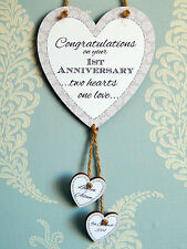 Two Hearts One Love Personalised 1st Wedding Anniversary Heart Plaque Gift Sign