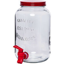 Mainstays 1 Gallon Sun Tea Clear Glass Jar Dispenser w Metal Lid Red Portable