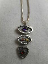 Artisan SMB 925 sterling amethyst garnet & copper triple drop & pendant necklace