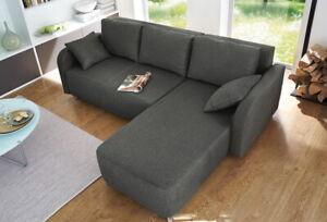 Schlafsofa Ecksofa mit Schlaffunktion und Bettkasten Eckcouch L Sofa Couch 19133