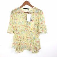 BNWT Zara Woman Yellow Floral Semi Sheer Lace Up Boho Gypsy Prairie Top M 8 10