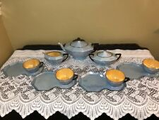 Vintage Victoria China Porcelain Luster Teapot/Creamer/Sugar/Cups& Snack trays