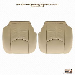 2004 Cadillac Escalade Driver & Passenger Bottom Leather Seat Covers Tan