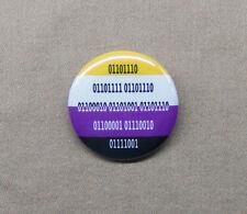 "NONBINARY in Binary Code Button 1.25"" Pride Flag Computer Pun Geek Genderfluid"