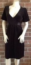 Juicy Couture Short Sleeve Smocked Velour Dress V-Neck CHOCOLATE BROWN $296 M