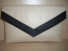 OVER SIZED CREAM AND BLACK faux leather envelope clutch bag, fully lined BN