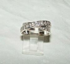 18 CARAT 18K WHITE GOLD, DIAMOND PAVE SET CROSSOVER RING SIZE UK Q 7.7 GRAMS