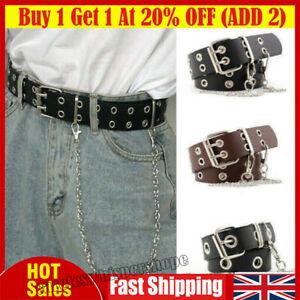 Women Punk Chain Fashion Belt Adjustable Double Single Row Hole Eyelet Waistband