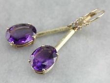 Large Amethyst and Daimond Drop Earrings
