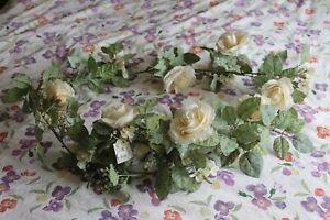 Cream/ Ivory faux rose garland Decoris 180cm long wedding party decoration