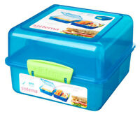 Sistema Blue 3 Compartment  Klip It 1.4L Lunch Cube Box Container