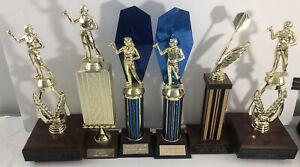Vintage Dart Trophy Dartball Male / Female Trophy Lot of 6
