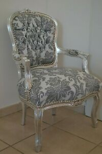 LOUIS XV ARM CHAIR FRENCH STYLE CHAIR VINTAGE FURNITURE GREY SILVER NEW MODEL