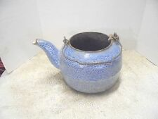 vintage heavy cast iron stove mount tea pot blue swirl enamelware finish rough
